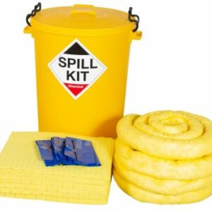 Spill kit including a yellow wheelie bin, absorbent pads, socks and disposable bags