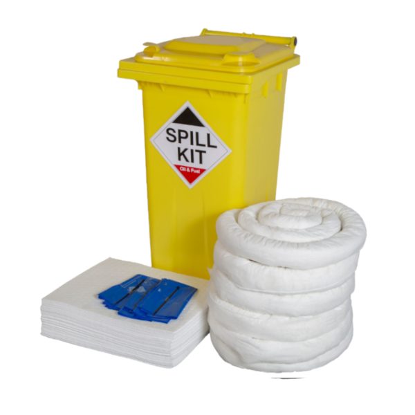 Oil and fuel spill kit with yellow wheelie bin, white absorbent pads, socks and disposable bags