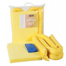 Chemical spill kit clip top bag with yellow absorbent pads, socks and disposable bags