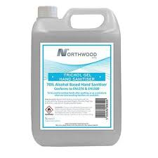 5 litre container of Northwood alcohol gel sanitiser