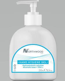 250ml bottle of Northwood alcohol gel sanitiser